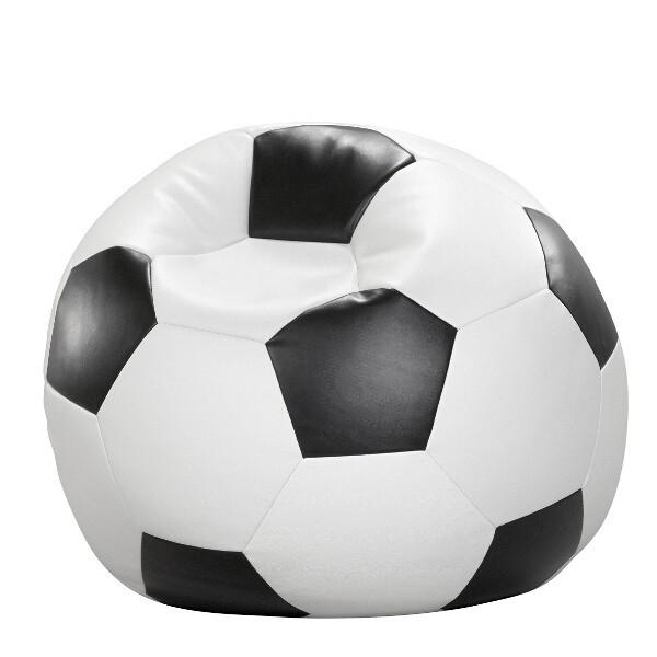 sitzsack sitzkissen fussball schwarz wei kunstleder 80 x. Black Bedroom Furniture Sets. Home Design Ideas
